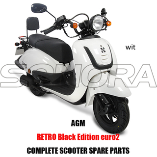 AGM Retro Black Edition SCOOTER BODY KIT PIEZAS DE MOTOR SCOOTER COMPLETO PIEZAS DE RECAMBIO ORIGINALES